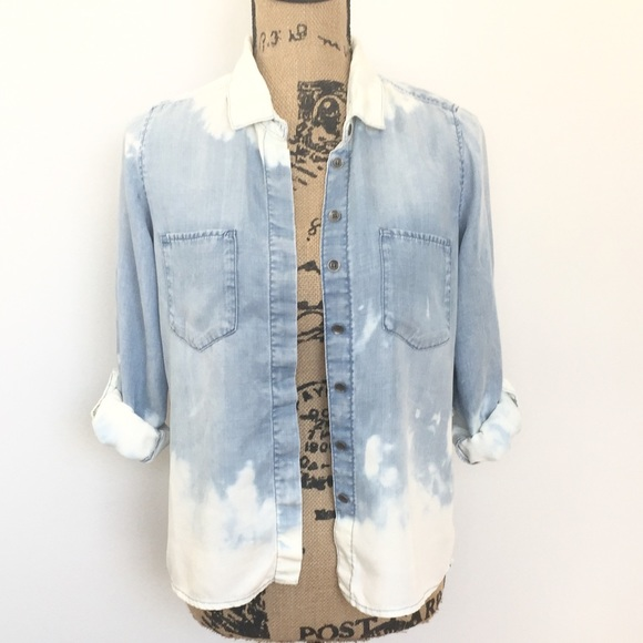 7cb3acdc54 OOAK Distressed Bleach washed Denim Shirt H&M